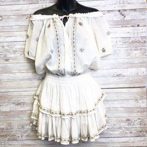 LoveShackFancy Embroidered Popover Mini Dress